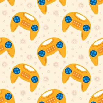 Videospiel-thema. nette gelbe joysticks fliegen. flaches handgezeichnetes nahtloses muster