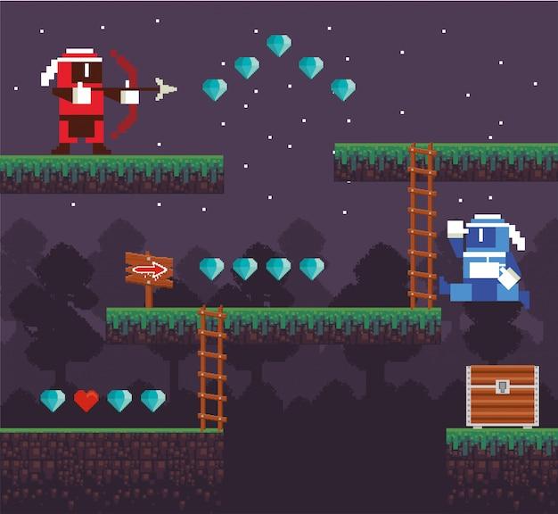 Videospielbogenschießenkrieger in pixelated szene