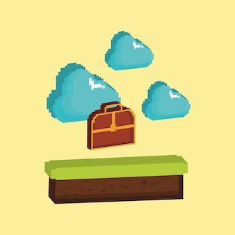 Videospieldesign mit pixelated kastenkasten und wolken