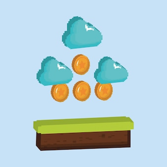 Videospieldesign mit pixelated münzen und wolken
