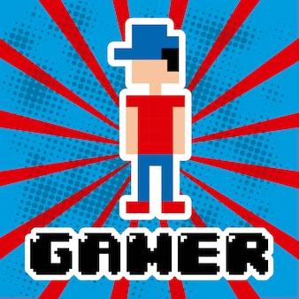 Videospieldesign über blauem und rotem streifenhintergrund-vektorkranken