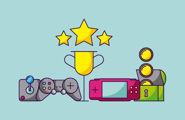 Videospieldesignvideospielkonsolen und videospielgegenstandillustration