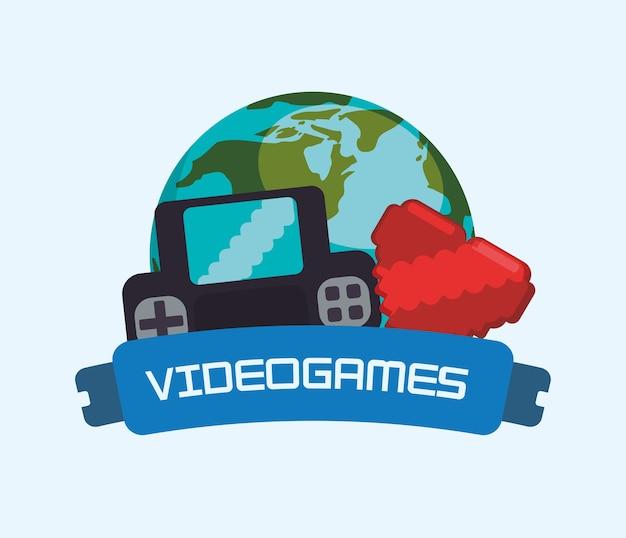 Videospiele online-welt-konsole herz