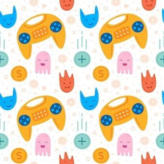 Videospielfiguren. gelber joystick. emoji mit verschiedenen gesichtern. flaches handgezeichnetes nahtloses muster