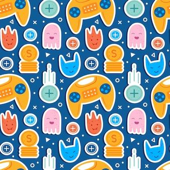 Videospielfiguren. mann spieler mit joystick. emoji mit verschiedenen gesichtern. fliegende münzen. computerspiel, stream, blog, vlog. flaches handgezeichnetes nahtloses muster