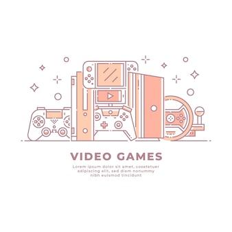 Videospielgeräte und konsolen lineares design