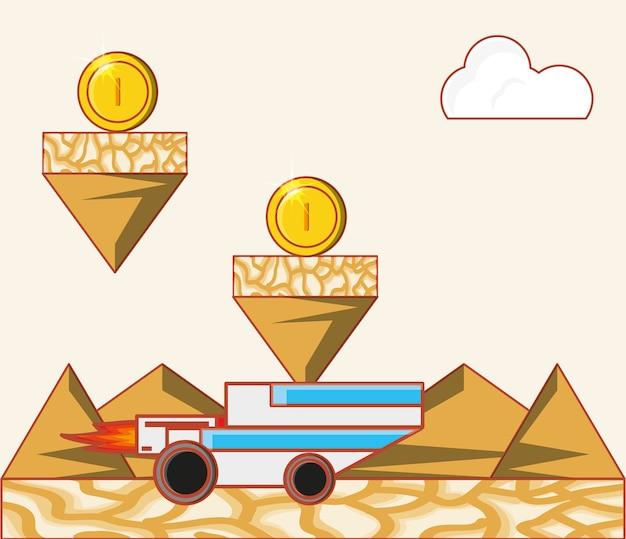 Videospielschnittstelle mit münzen und autoikone
