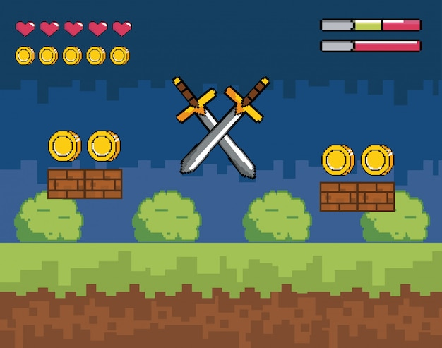 Videospielszene mit pixeligen schwertern und münzen