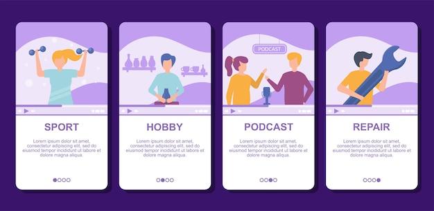 Videosport, hobby-podcast und reparatur-blog im internet online-illustration live-video-streaming, social-media-technologien.