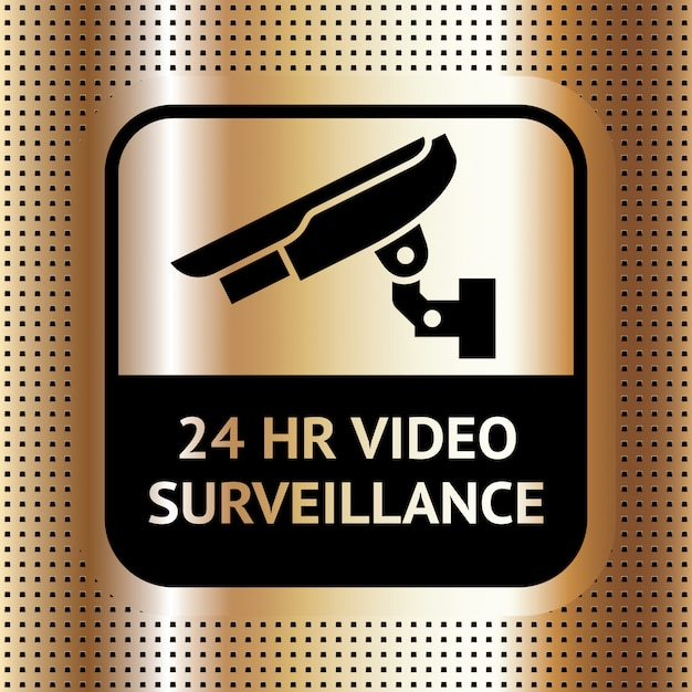 Videoüberwachungssymbol auf einem goldenen punktierten hintergrund
