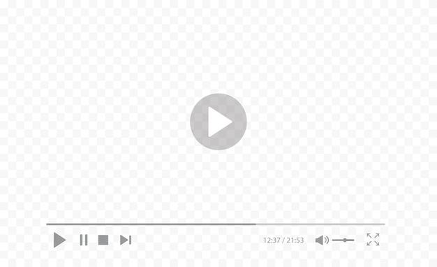 Videozeichen auf transparentem hintergrund abspielen videoplayer-schnittstelle