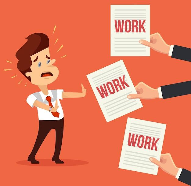 Viel arbeit. beschäftigter mann charakter. hände geben viele werke.