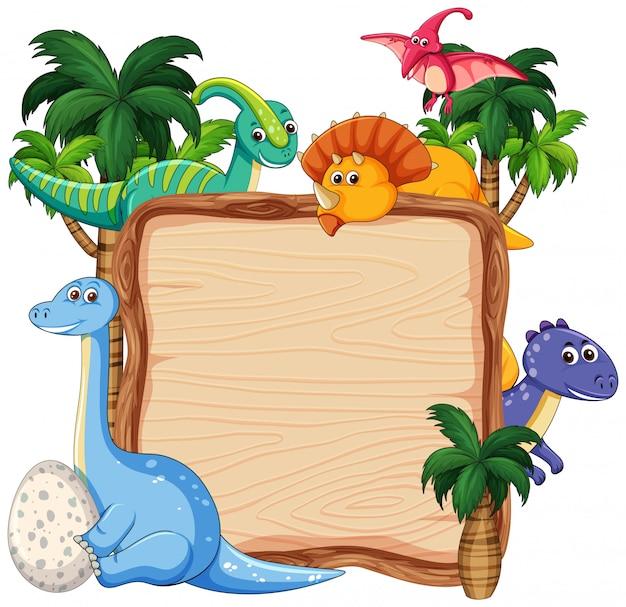 Viel dinosaurier auf hölzerner fahne