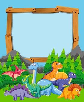 Viel dinosaurier auf naturholzrahmen