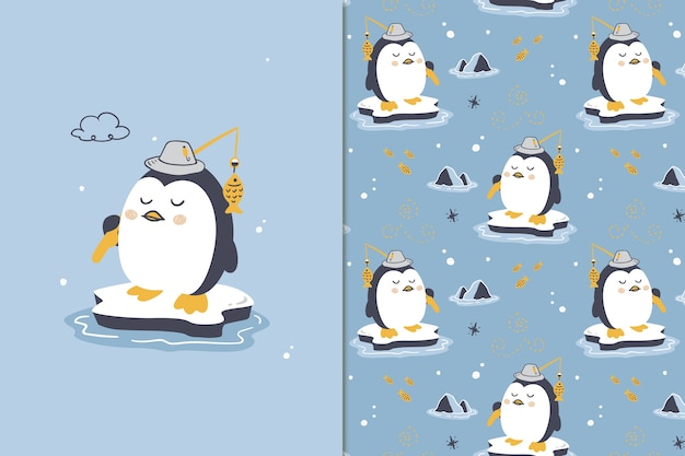 Viel glück pinguin nahtloses muster