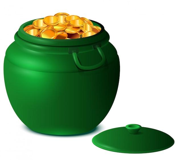 Viel glück st patricks day großen grünen topf mit goldmünzen