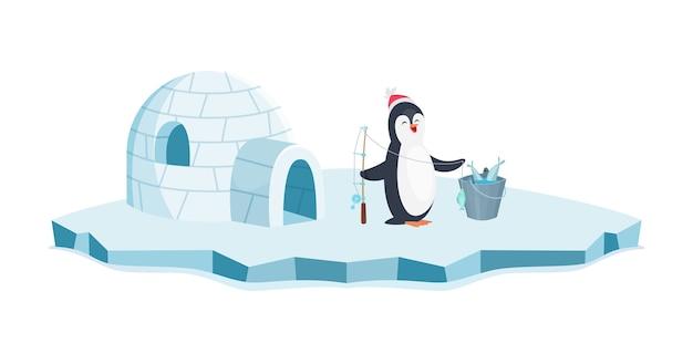 Viel spaß beim pinguinfischen. weihnachtspinguin auf eis und eimer der fischillustration. karikaturtier lokalisiert auf weißem hintergrund. pinguinfischen im eisloch, winterhobby