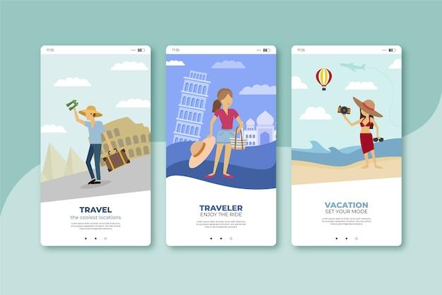 Viel spaß beim reisen mobile app bildschirme