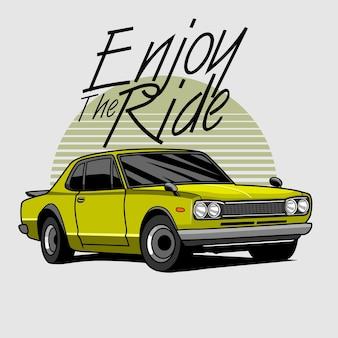 Viel spaß mit der ride car illustration