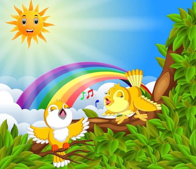 Viel vogel auf dem baumast mit regenbogenszene