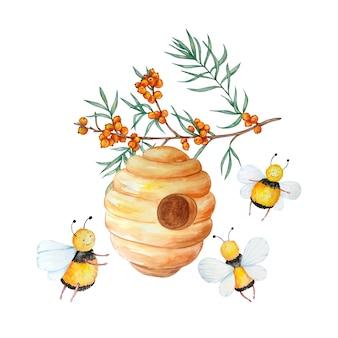 Vielbeschäftigte süße bienen fliegen auf einem ast mit sanddorn um den bienenstock.