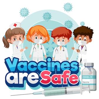 Viele ärzte, die medizinische maskenzeichentrickfiguren und impfstoffe tragen, sind sichere schriftart