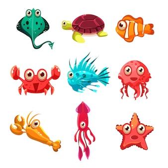 Viele arten von fischen und meerestieren
