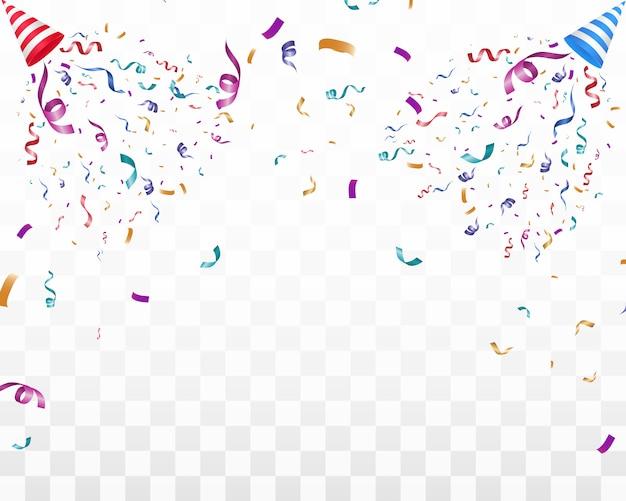 Viele bunte kleine konfetti und bänder auf transparentem hintergrund. festliche veranstaltung und party. mehrfarbiger hintergrund. buntes helles konfetti auf transparentem hintergrund