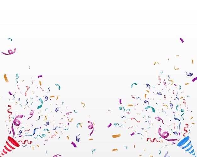 Viele bunte kleine konfetti und bänder. festliche veranstaltung und party.