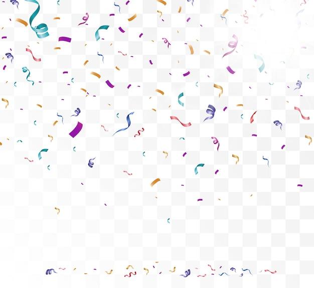 Viele bunte winzige konfetti und bänder auf transparentem hintergrund festliche veranstaltung und party mehrfarbiger hintergrundfarbene helle konfetti isoliert auf transparentem hintergrund