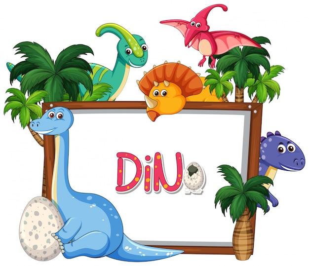 Viele dinosaurier-frame-vorlage