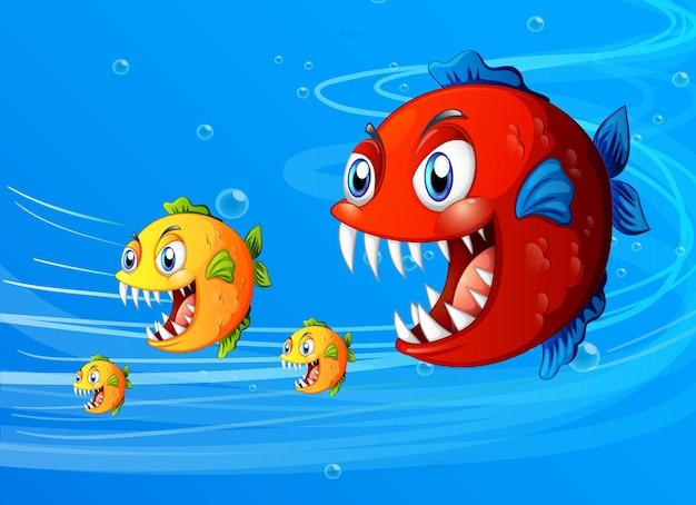 Viele exotische fische cartoon-figur im unterwasser-hintergrund
