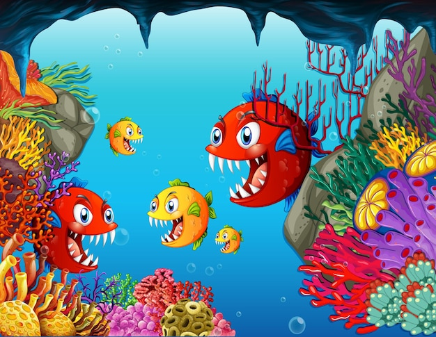 Viele exotische fische zeichentrickfigur im unterwasserhintergrund