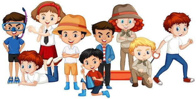 Viele glückliche kinder auf isoliertem hintergrund