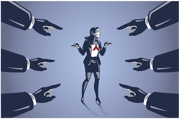 Viele hände zeigten auf geschäftsfrau, geschäftsillustrationskonzept, leute für fehler zu beschuldigen