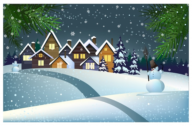 Viele häuser mit schnee auf dach in der stadtillustration