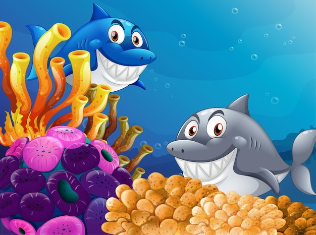 Viele hai-zeichentrickfigur im unterwasserhintergrund