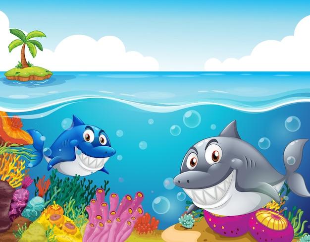 Viele haie-cartoon-figur im unterwasserhintergrund