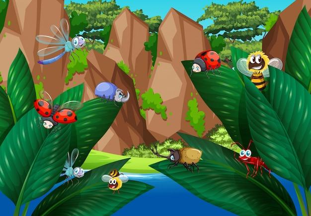 Viele käfer auf grünen blättern