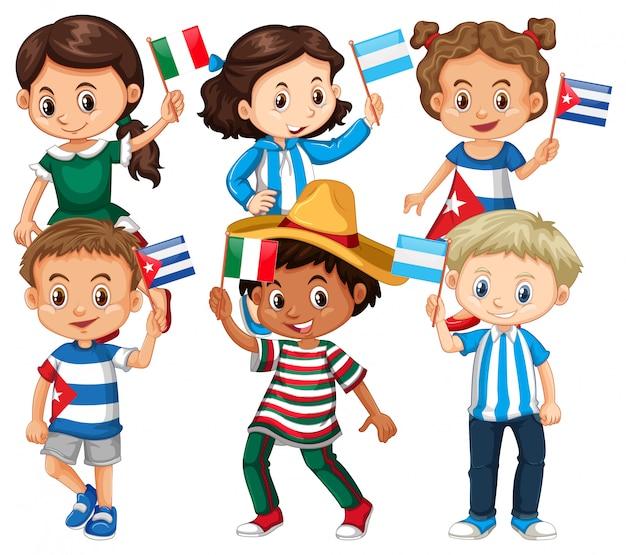 Viele kinder, die flagge aus verschiedenen ländern halten