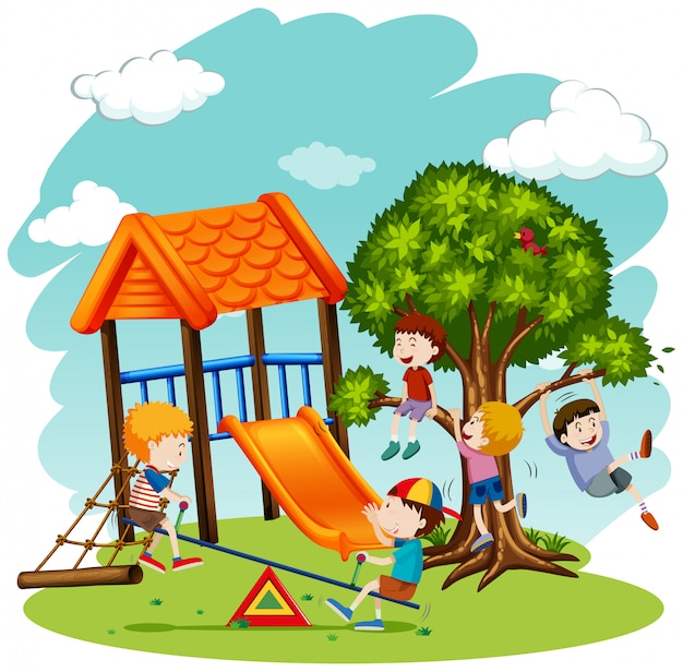 Viele kinder spielen auf dem spielplatz