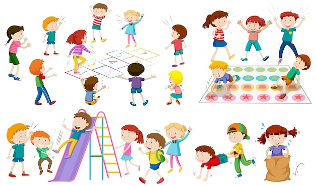 Viele kinder spielen verschiedene spiele