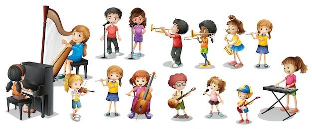 Viele kinder verschiedene musikinstrumente spielen