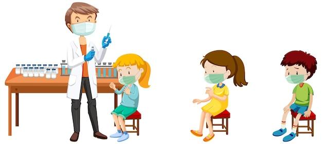 Viele kinder warten in der warteschlange, um covid-19-impfstoff und arztzeichentrickfigur zu bekommen