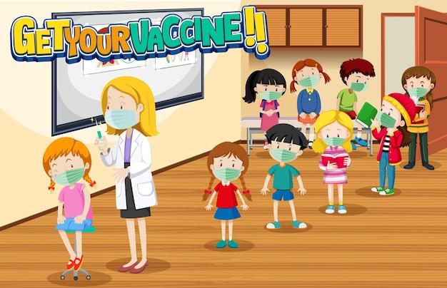 Viele kinder warten in der warteschlange, um covid-19-impfstoff zu bekommen
