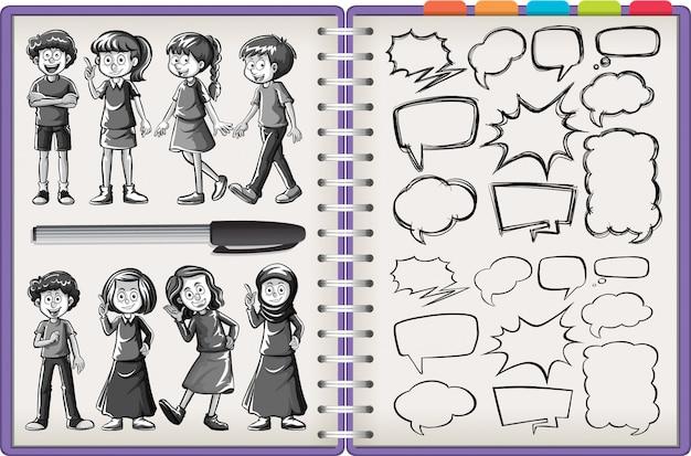 Viele kindercharakter und denkendes gekritzel lokalisiert auf lila notizbuch auf weißem hintergrund