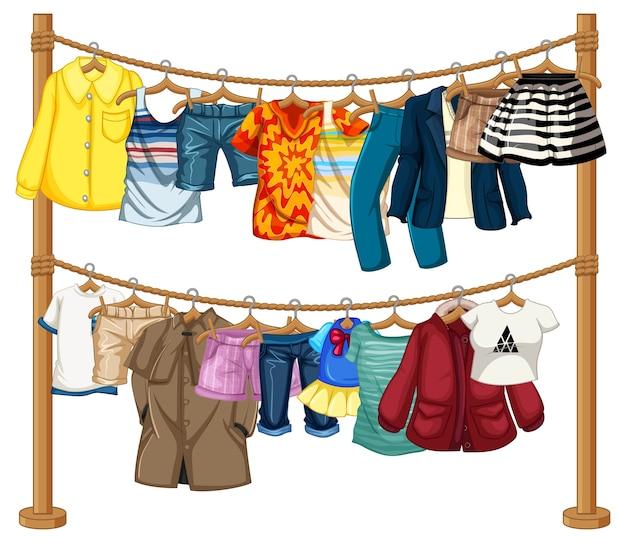 Viele kleider hängen an einer leine