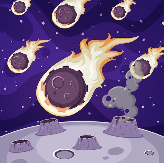 Viele kometen im dunklen raum