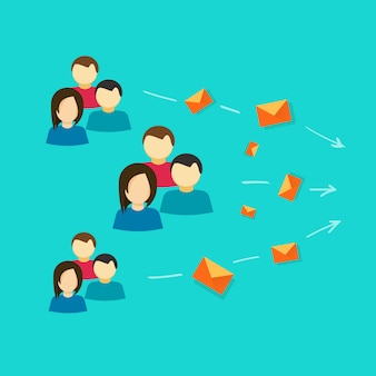 Viele leute oder kunden, die über flache karikatur des e-mail-mitteilungskommunikationsvektors in verbindung treten
