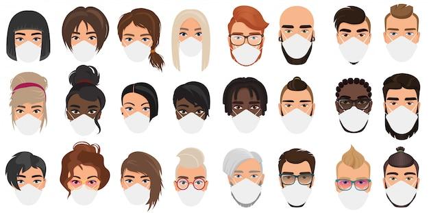 Viele menschen in masken porträtieren charakter-cartoon-illustrationssatz